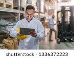 happy dedicated young caucasian ...   Shutterstock . vector #1336372223
