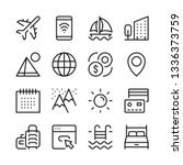 tourism and vacation line icons ... | Shutterstock .eps vector #1336373759