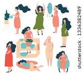 pregnant woman lifestyle set ... | Shutterstock .eps vector #1336382489