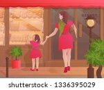 mother and daughter holding... | Shutterstock .eps vector #1336395029