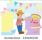 background,blue,boy,brazilian party,card,cartoon,checked,cheerful,copy space,country,cute,dancing,decoration,dots,feast