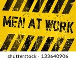Men At Work Sign Vector...