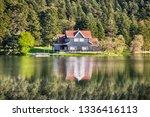 wooden lake house inside forest ... | Shutterstock . vector #1336416113