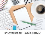 blank notepad with pen on... | Shutterstock . vector #133645820