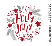 christmas card with wreath... | Shutterstock .eps vector #1336471310