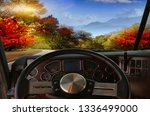 view of the road from the truck ... | Shutterstock . vector #1336499000