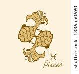 pair of golden pisces for... | Shutterstock .eps vector #1336550690
