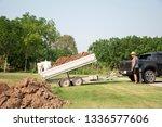 dump car trailer with two wheel ... | Shutterstock . vector #1336577606