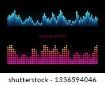 colorful sound waves on black... | Shutterstock .eps vector #1336594046