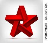 pentagonal illusion red star.... | Shutterstock .eps vector #1336597136