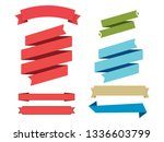 vector set of ribbons on a... | Shutterstock .eps vector #1336603799
