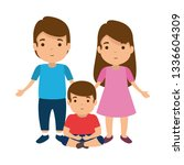 parents couple with son... | Shutterstock .eps vector #1336604309