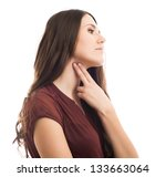 beautiful young woman measures... | Shutterstock . vector #133663064