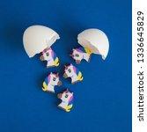 flat lay of unicorns hatching... | Shutterstock . vector #1336645829