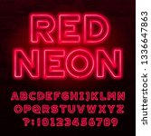 red neon alphabet font. red... | Shutterstock .eps vector #1336647863