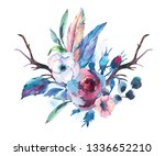 vintage watercolor bouquet of... | Shutterstock . vector #1336652210