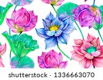 tropical flowers  leaves  pink... | Shutterstock . vector #1336663070
