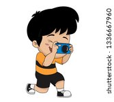 kid take a photo.vector and... | Shutterstock .eps vector #1336667960