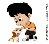 a child playing with his dog... | Shutterstock .eps vector #1336667966