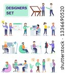 set of coworking space with... | Shutterstock .eps vector #1336690520