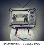 addicted to fake news man with... | Shutterstock . vector #1336691909