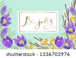 template of spring greeting... | Shutterstock . vector #1336702976