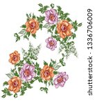 watercolor flower bunch | Shutterstock . vector #1336706009