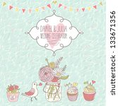 stylish wedding invitation.... | Shutterstock .eps vector #133671356