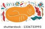 queen cat flat hand drawn... | Shutterstock .eps vector #1336733993