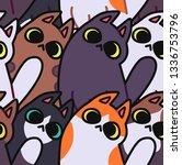 seamless cat pattern. cartoon... | Shutterstock .eps vector #1336753796