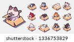 cats in boxes sticker set for.... | Shutterstock .eps vector #1336753829