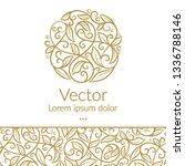 golden linear leaf emblem.... | Shutterstock .eps vector #1336788146