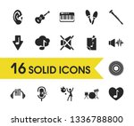 melody icons set with recording ...