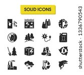 eco icons set with plastic bags ...