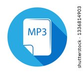 mp3 file icon with long shadow. ...