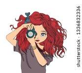vector drawings woman cartoon... | Shutterstock .eps vector #1336832336