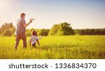 boy playing with father in... | Shutterstock . vector #1336834370