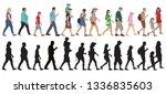 set of walking people  crowd ... | Shutterstock .eps vector #1336835603