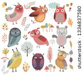 cute woodland owls. funny... | Shutterstock .eps vector #1336837580
