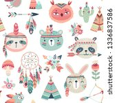 cute woodland boho tribal... | Shutterstock .eps vector #1336837586