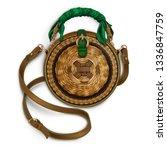 women's round wicker bamboo bag ... | Shutterstock .eps vector #1336847759