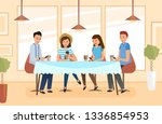 a group of students meets in a... | Shutterstock .eps vector #1336854953