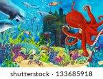 the underwater castle  ... | Shutterstock . vector #133685918
