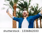 i did it  hilariously happy and ... | Shutterstock . vector #1336862033