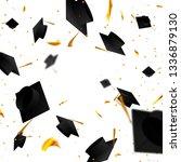 graduate caps and confetti on a ... | Shutterstock .eps vector #1336879130