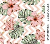 tropical pink hibiscus flowers  ...   Shutterstock .eps vector #1336900166