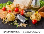set of raw pasta and addons on... | Shutterstock . vector #1336900679