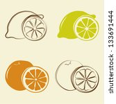 lemon and orange icons - vector illustration - stock vector