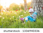 little girl child plays on the... | Shutterstock . vector #1336940336