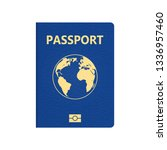 blue passport isolated.... | Shutterstock .eps vector #1336957460